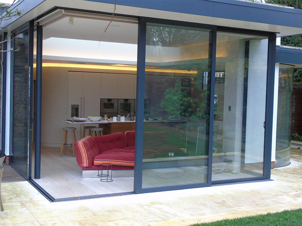 Sliding doors bifold doors with 90 degree and 135 degree for Corner sliding glass doors