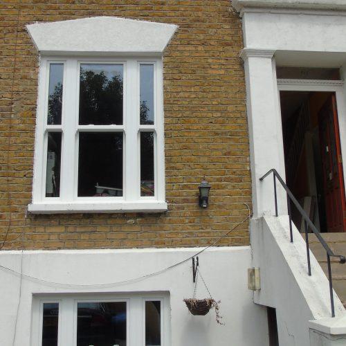 White PVC-U Heritage sash window