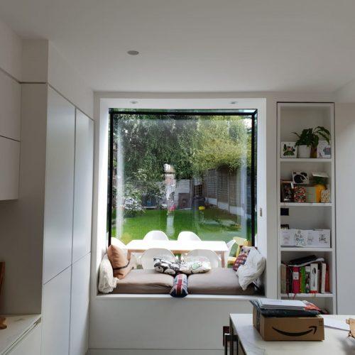 1st Folding Sliding Doors - Frameless glass window seat/Box