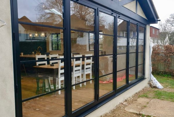 Steel look bi-fold doors