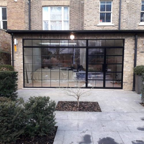 Steel Look French Doors and fixed panel - 1st folding sliding doors